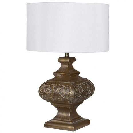 Rubbed Gld Eff Carved Lamp