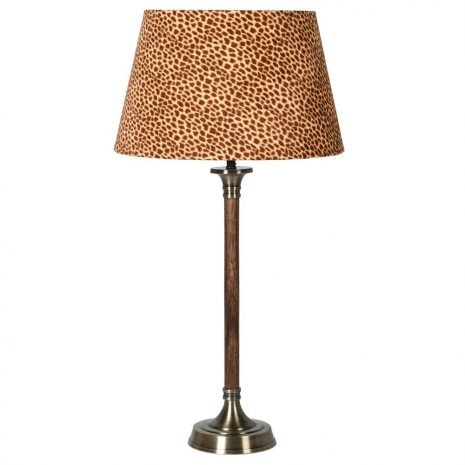 Wood and brass lamp w leopard shade