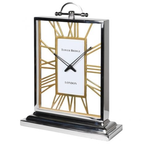 Aluminium and Gold Table Clock
