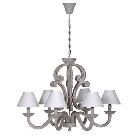 grey chandelier with cream shades