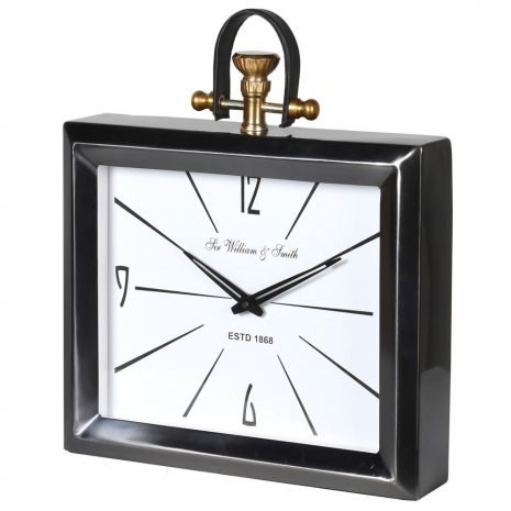 steel clock with leather handle