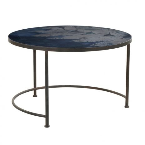 blue leaf glass top coffee table