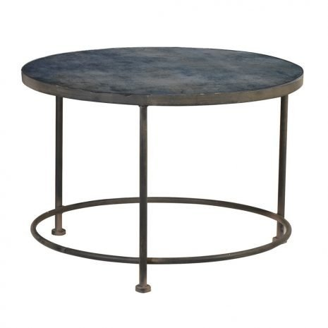 blue pattern glass top coffee table