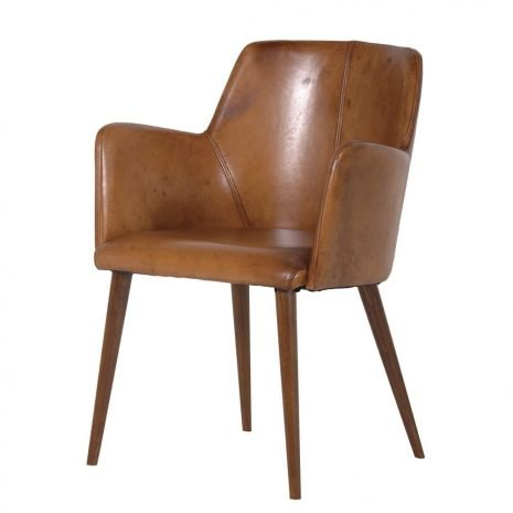 Italian Leather Chair with Arms