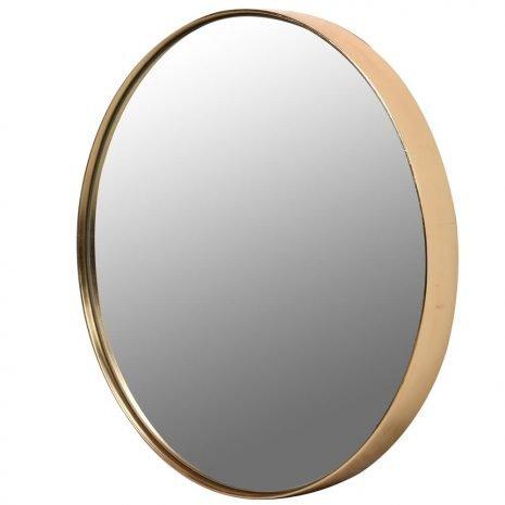small gold rim round mirror