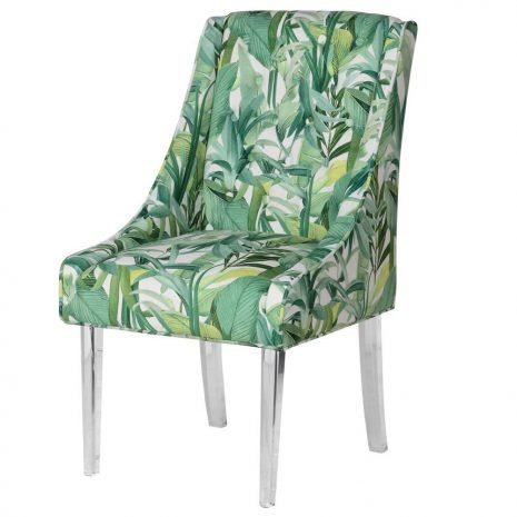 tropical print chair with acrylic legs