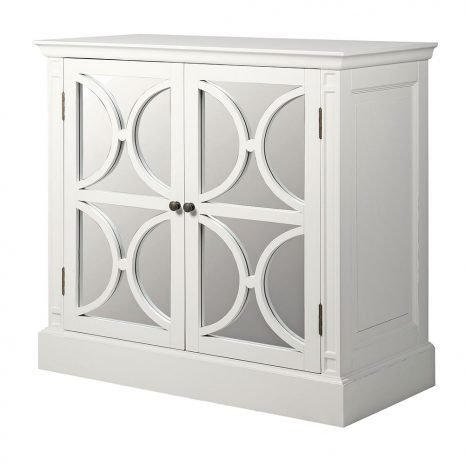 white two door mirrored sideboard
