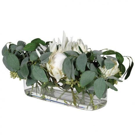 eucalyptus in a glass trough
