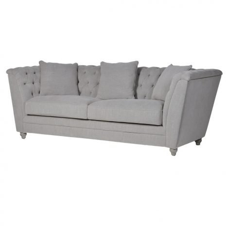 fawn buttoned box sofa 3 seat