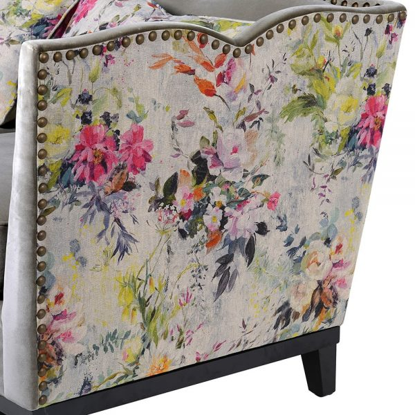 Floral Studded Sofa 3 seat 2