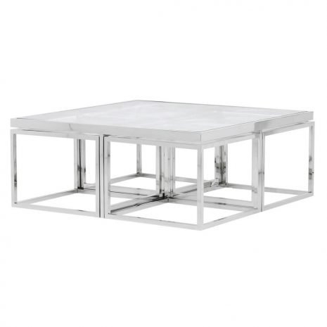 set of 5 modular glass coffee tables