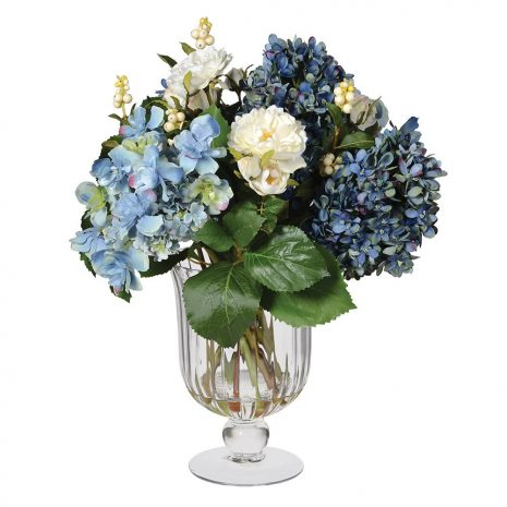 blue hydrangea in ribbed vase