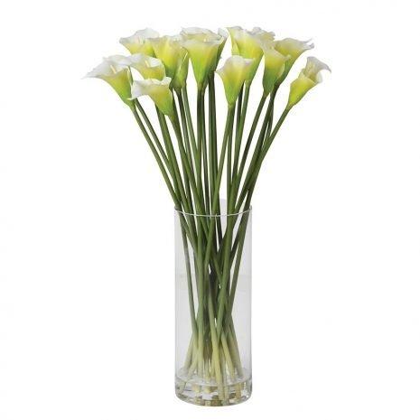 calla lilies in a column vase