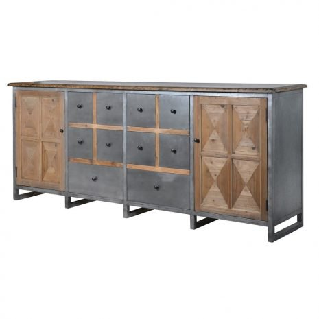 industrial wood metal sideboard