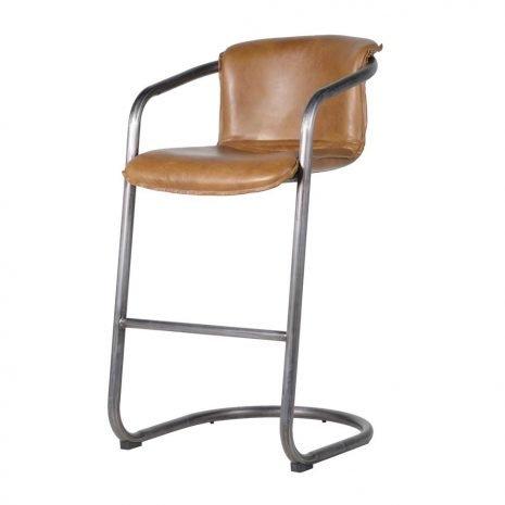 tubular brown leather stool