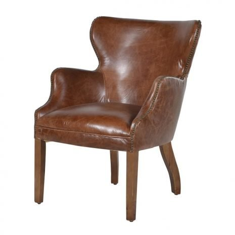 brown leather studded chair