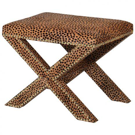 faux leopard skin stool