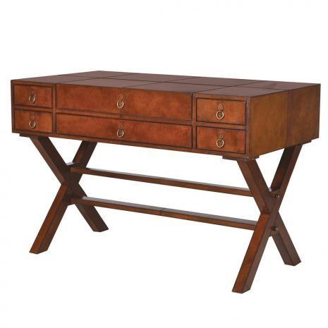 six drawer leather desk