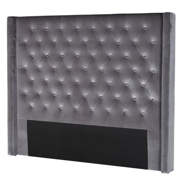 grey winged butoned headboard